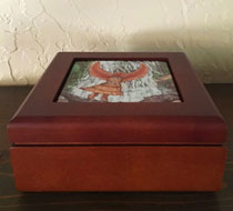 Wooden Treasure Box with Hawk Woman image Inset on top of box
