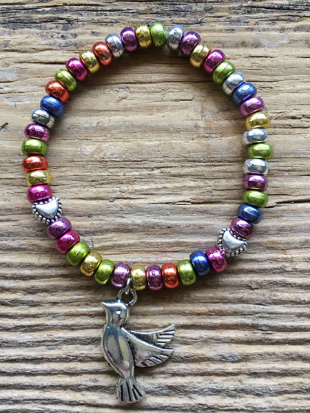 Little Brave Heart Kids Bracelet with multi color beads and dove charm