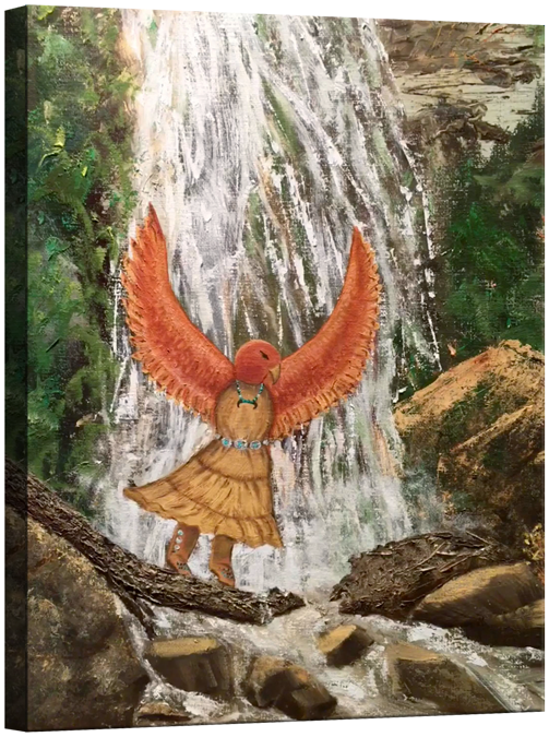 Hawk Woman's Water Dance on Canvas