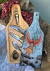 Hawk Woman Wine Accessory Set and Glass Cutting Board
